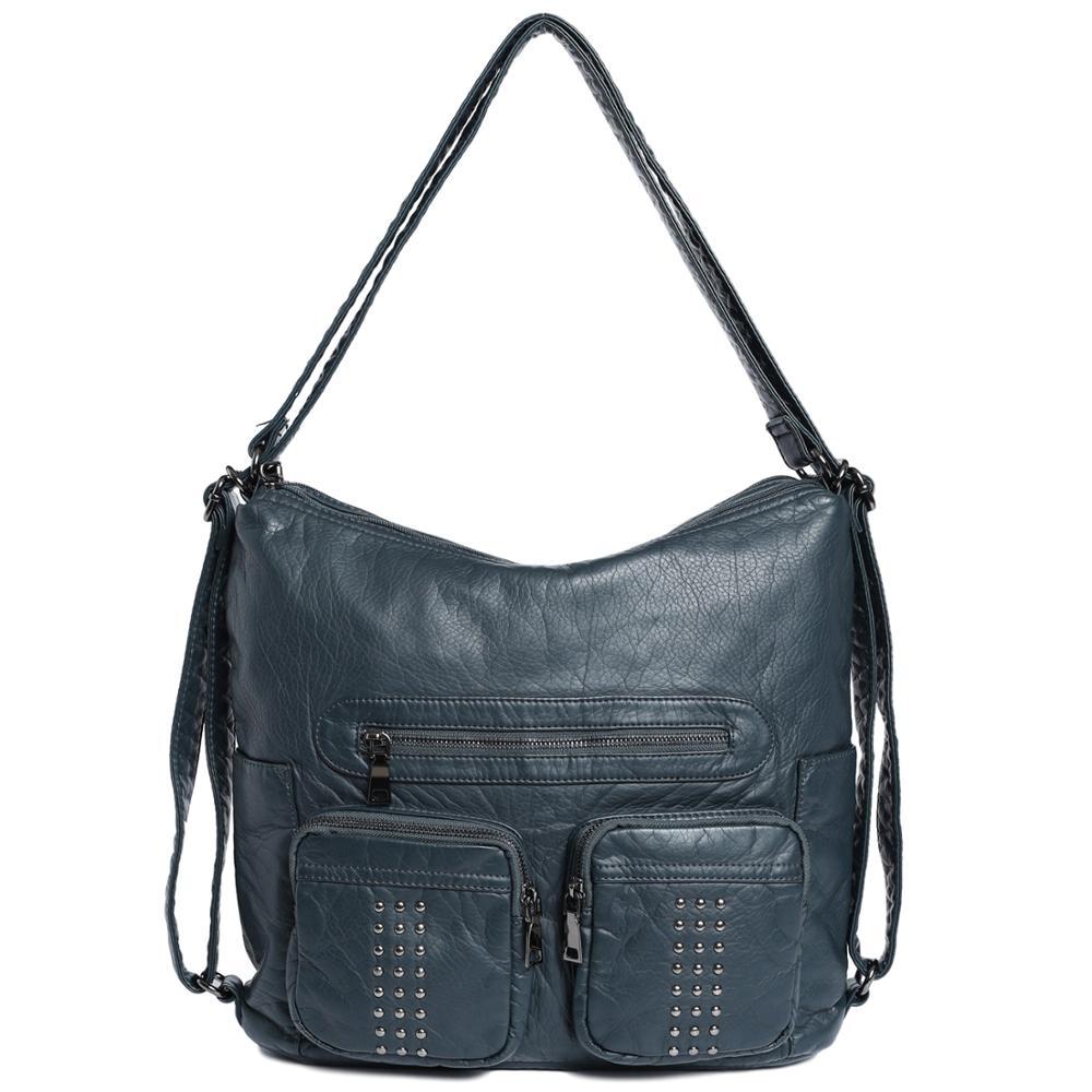 حقيبة يد نسائية من جلد البولي يوريثان الناعم ، حقيبة كتف متعددة الجيوب ، حقيبة يومية متعددة الأغراض
