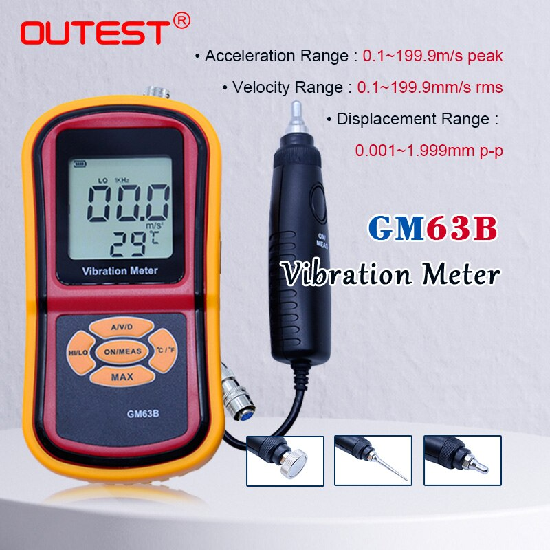 Gm63b portátil alta pressão ultra-sônico vibrômetro digital lcd medidor de vibração analisador medidor temperatura com max hold