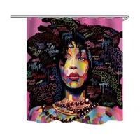 3d digital printing bath curtain thicken polyester waterproof shower curtains with hook africa women portrait bathroom curtain