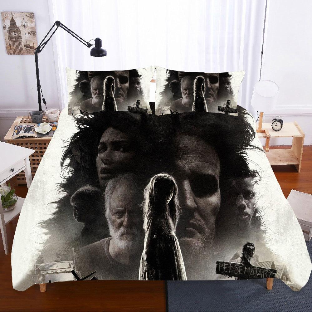 Juegos de cama 3D textil hogar edredón cama Edredon Pet sematario King Size sábanas calavera juego de cama fundas de almohada ropa de cama