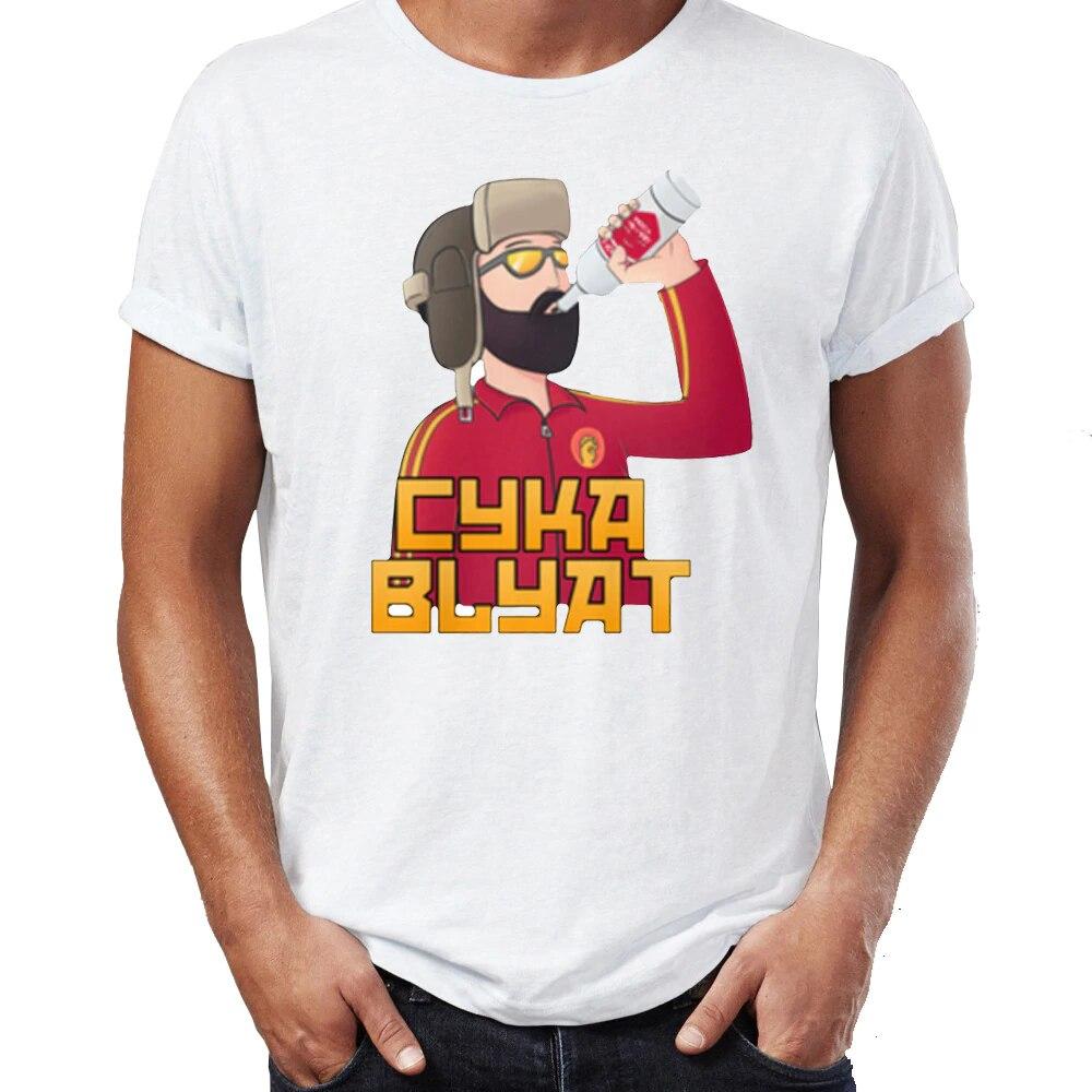 Футболка Cyka Blyat, забавная футболка унисекс с принтом «Русская водка» и надписью «Rush B», уличная футболка, хлопковая футболка с короткими рука...