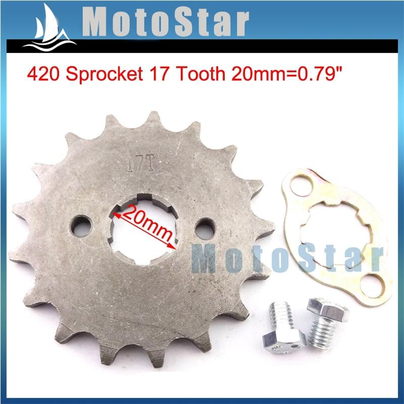 420 17 diente 20mm piñón de cadena para 50cc 70cc 90cc 110cc 125cc 140cc 150cc 160cc Quad ATV Pit Dirt Trail Bike