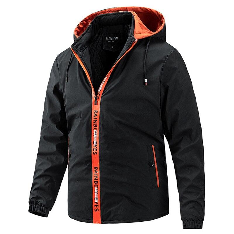 Куртка мужская приталенная однотонная с капюшоном, модная повседневная верхняя одежда, верхняя одежда для улицы