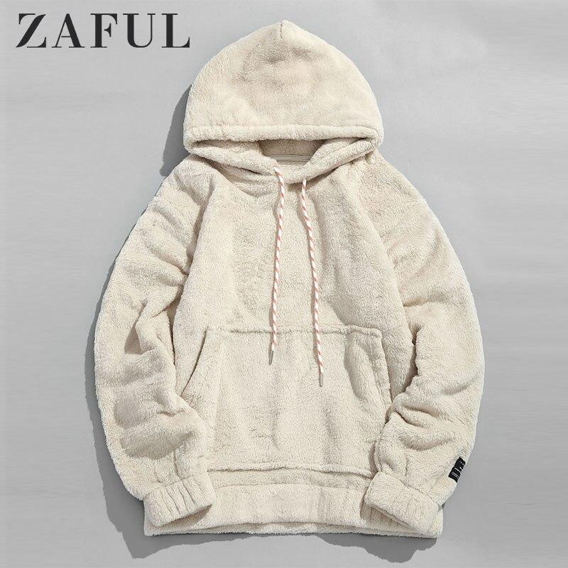 ZAFUL зимние женские толстовки пальто плотная сумка с карманом пушистый мужской пуловер сумка уличная одежда с карманом толстовка мужская толстовка с капюшоном