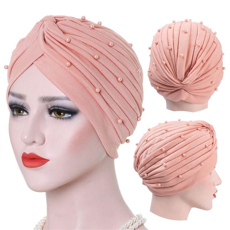 2020 coton solide plis perle musulman turban écharpe femmes islamique intérieur hijab casquettes arabe enveloppement tête femme musulman turbante mujer