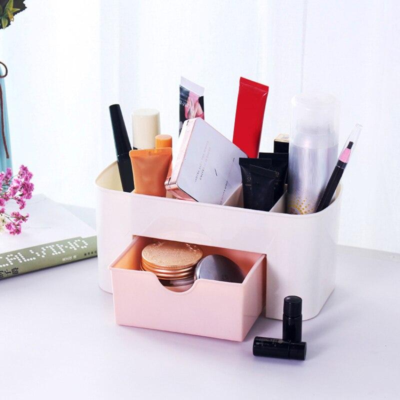 1 Uds cajón de Casa caja de almacenamiento de cosméticos cepillo de maquillaje acabado caja de plástico escritorio joyería cuidado de la piel dispensar vestidor nuevo