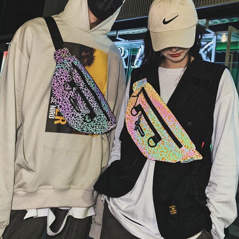 Reflectantes pecho bolso de las mujeres de los hombres patrones geométricos Crossbody pecho paquetes de moda reflectante de cadera bolsa de cintura cinturón de viaje paquetes de Fanny