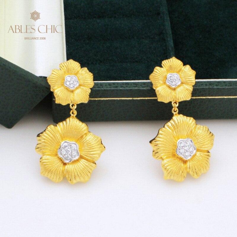 Dangling Flower 18K Gold Tone Daisy Earrings Vintage Renaissance 925 Silver Blossoms Studs Nature Wedding Earring C11E4S25404