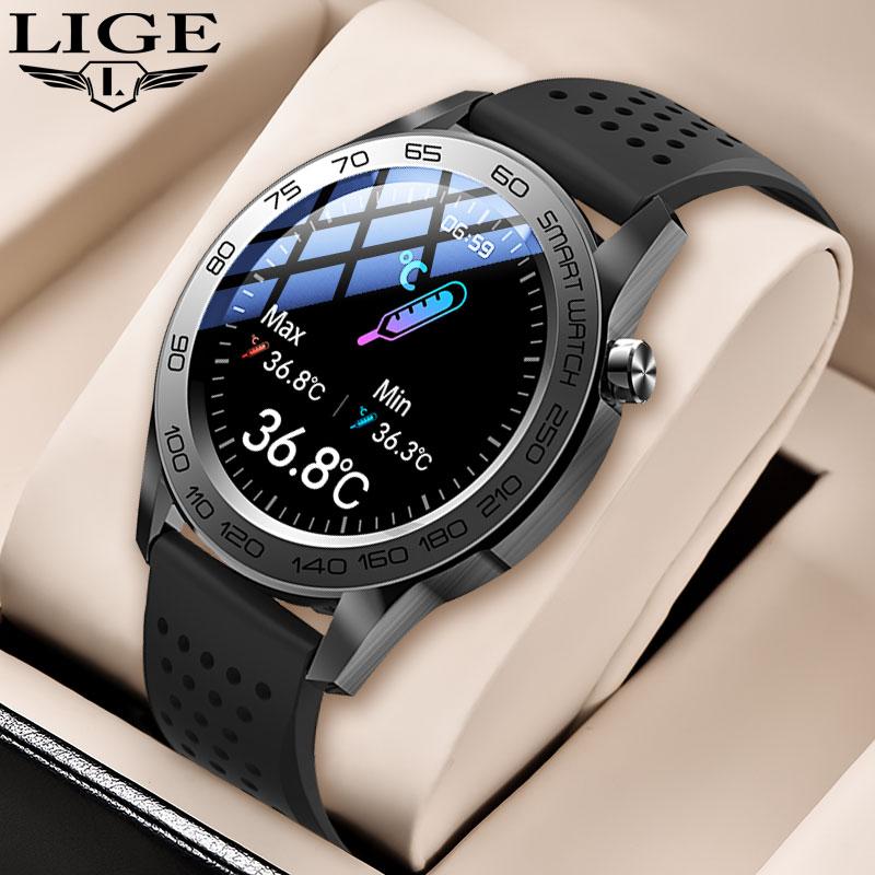 LIGE 2021 New Men Smart Watch Temperature Multiple Sport Mode Lntelligent Health Data Analysis Smart