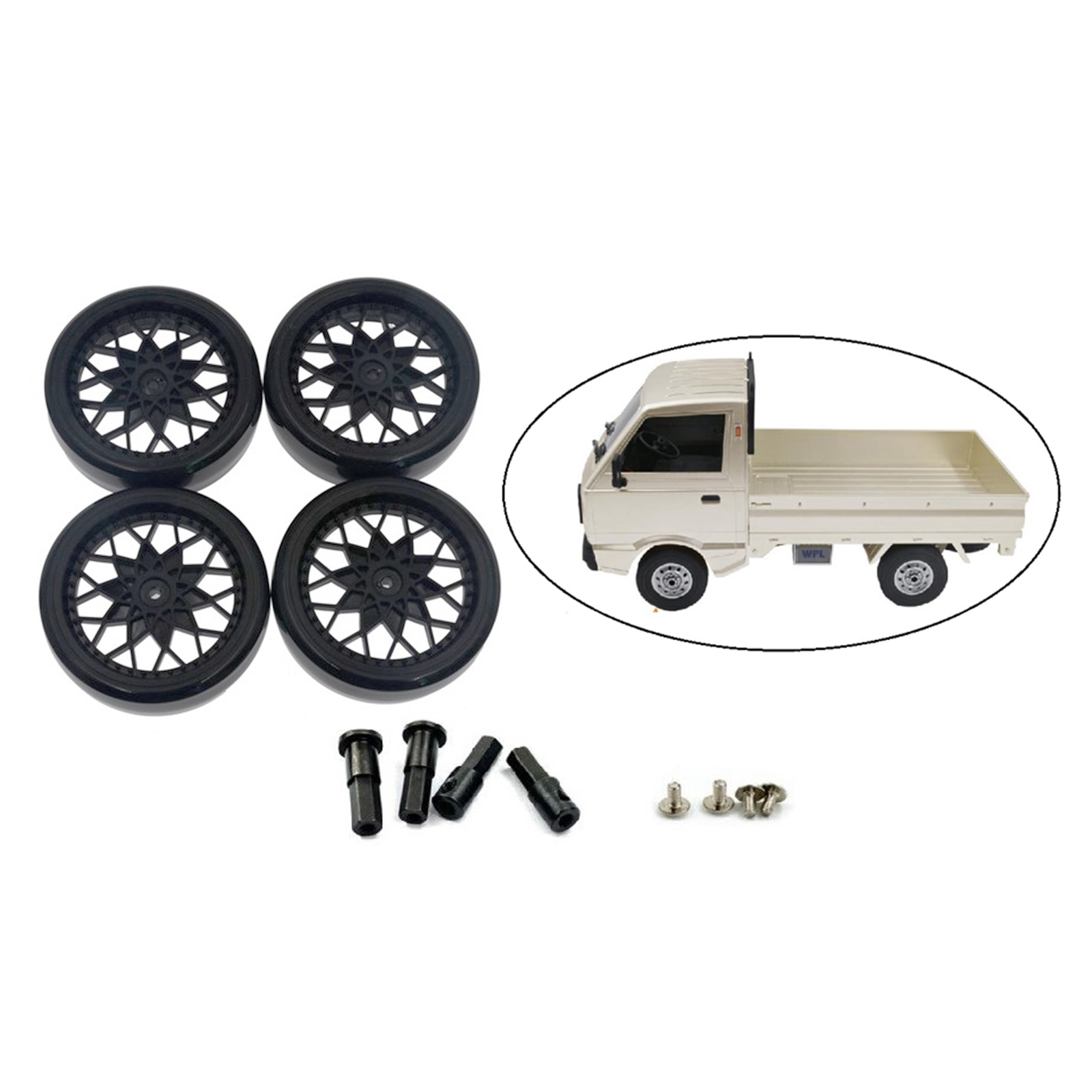 4pcs RC Rubber Tires Tyres & Wheel Axle for 1:10 WPL D12 Upgrade Parts