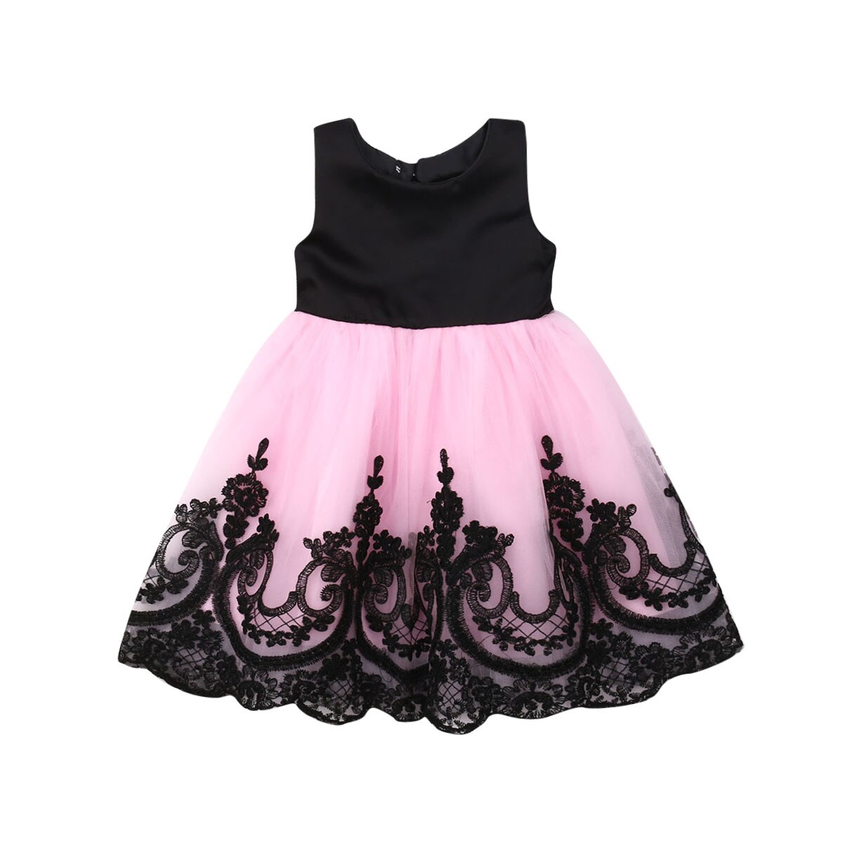 Princesa niños niña vestido sin mangas lazo trasero encaje tutú vestido de bola Formal desfile vestidos de fiesta ropa