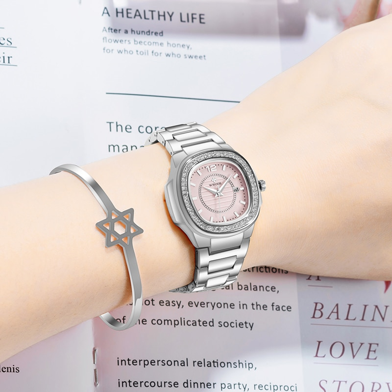 WWOOR Women Watch Women Fashion Luxury Diamond Pink Bracelet Watch Famous Brand Quartz Wrist Watch Ladies Sport Reloj Mujer 2021 enlarge