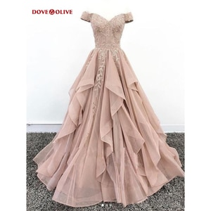 Pink Evening Dresses Ruffles Off Shoulder Sweetheart Ball Gown Long Lace Applique Sequined Prom Formal Gowns Party Women