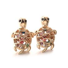 Fashion Turtle Earrings Gold Color Animal Earrings Colorful Crystal Stud Earrings Women Rhinestone E