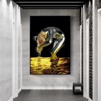 Toile de femme nue abstraite doree  affiches et imprimes de lavage de cheveux  tableau mural nordique moderne pour decoration de maison de salon