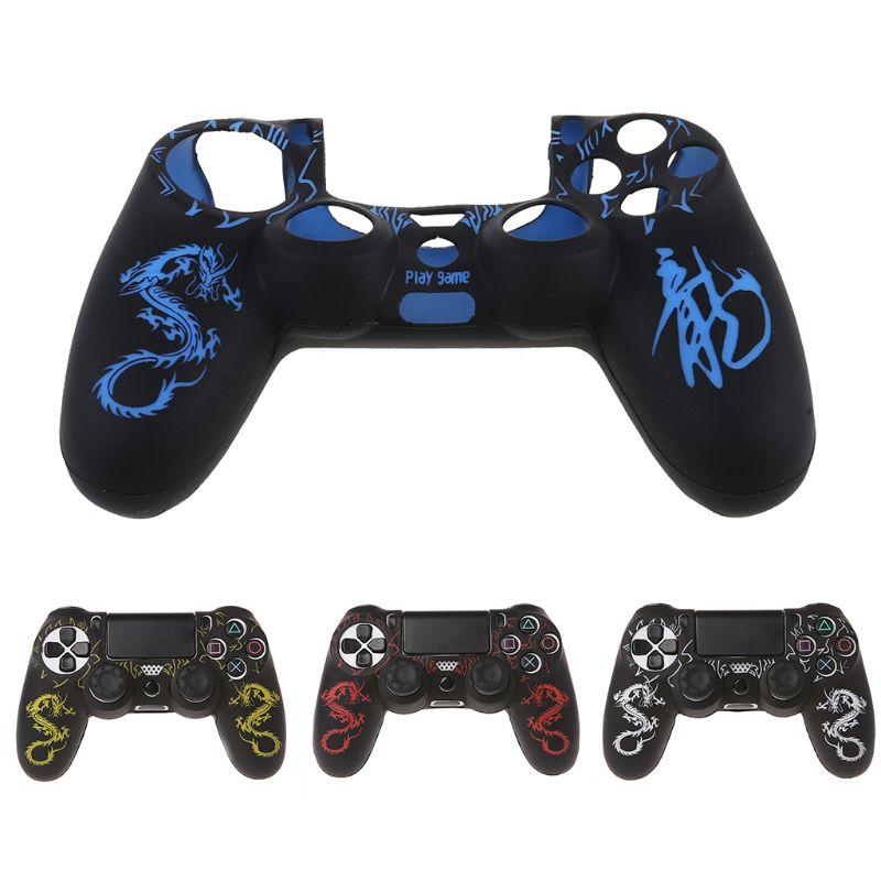 1 conjunto novo dragão chinês caso capa de silicone gamepad + 2 bonés joystick para controlador ps4