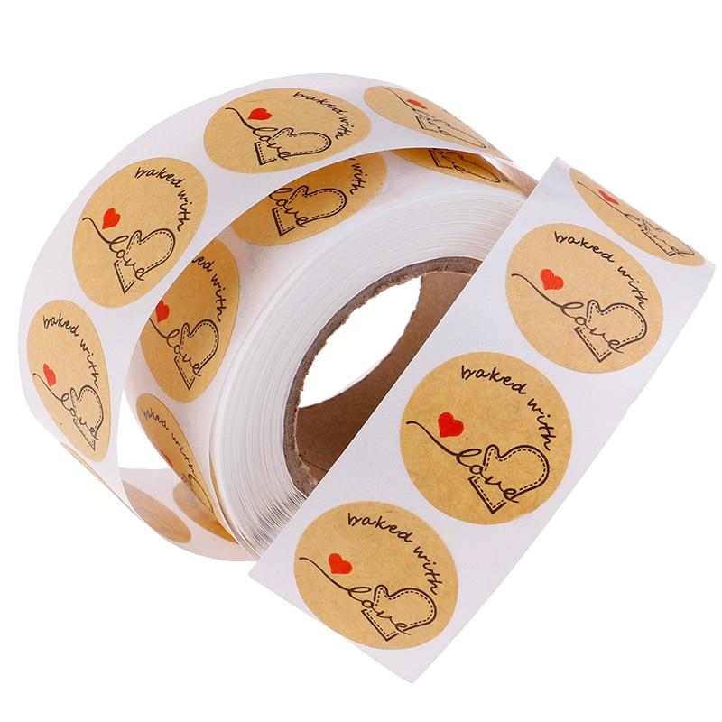500 etiquetas Por Rolo Bonito Adesivos Para Rótulos Selo Etiqueta Handmade Rodada Kraft Natural Cozido Com Amor Adesivos