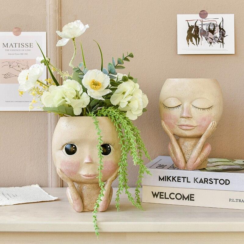 AliExpress - Nordic Human Head Vase Human Face Flowerpot Decoration Big Eyes Doll Resin Figure Sculpture Crafts Flower Arrangement Container