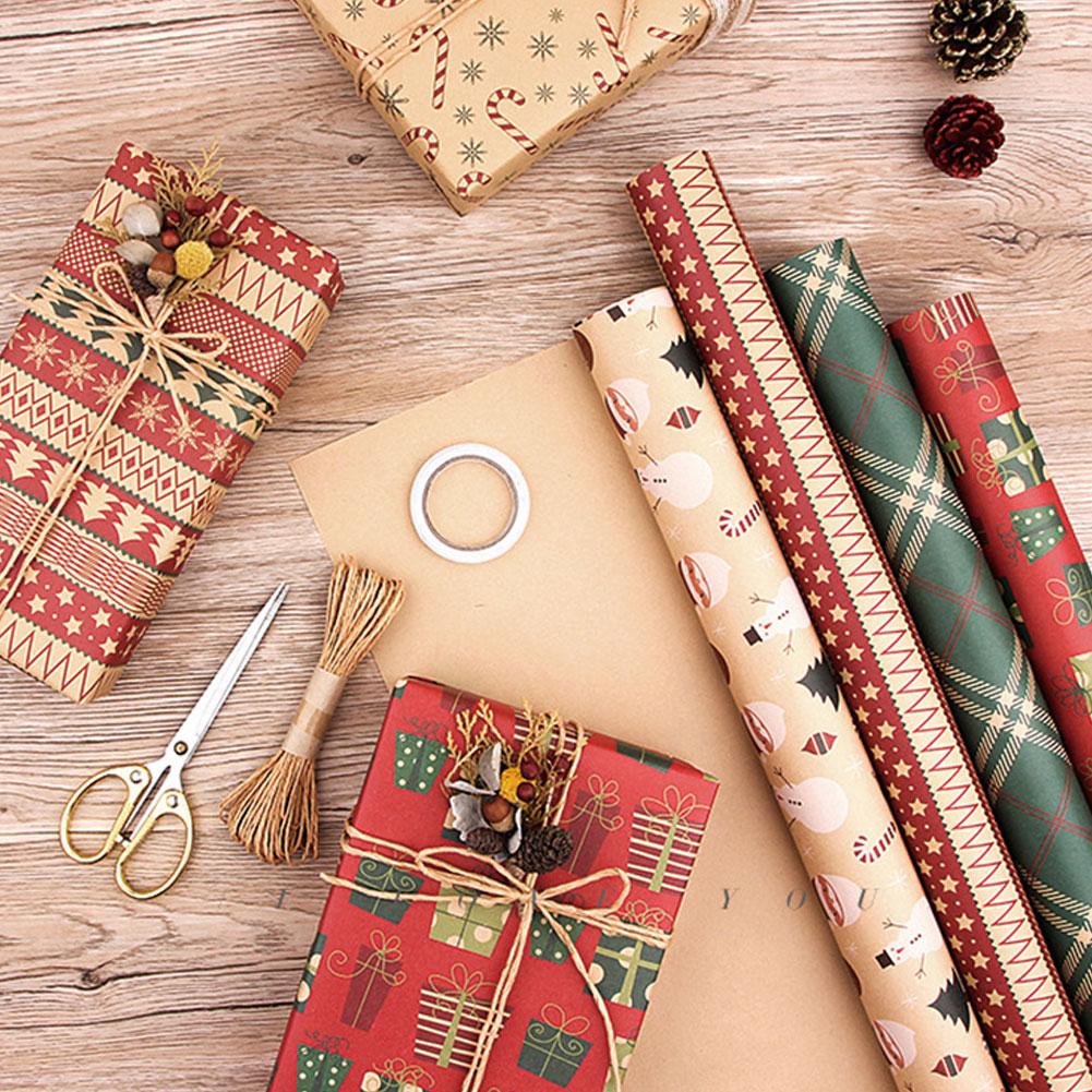 6 шт. Рождественская Крафтовая оберточная бумага для рождевечерние, Подарочная цветочная упаковка «сделай сам», художественная подарочная ...