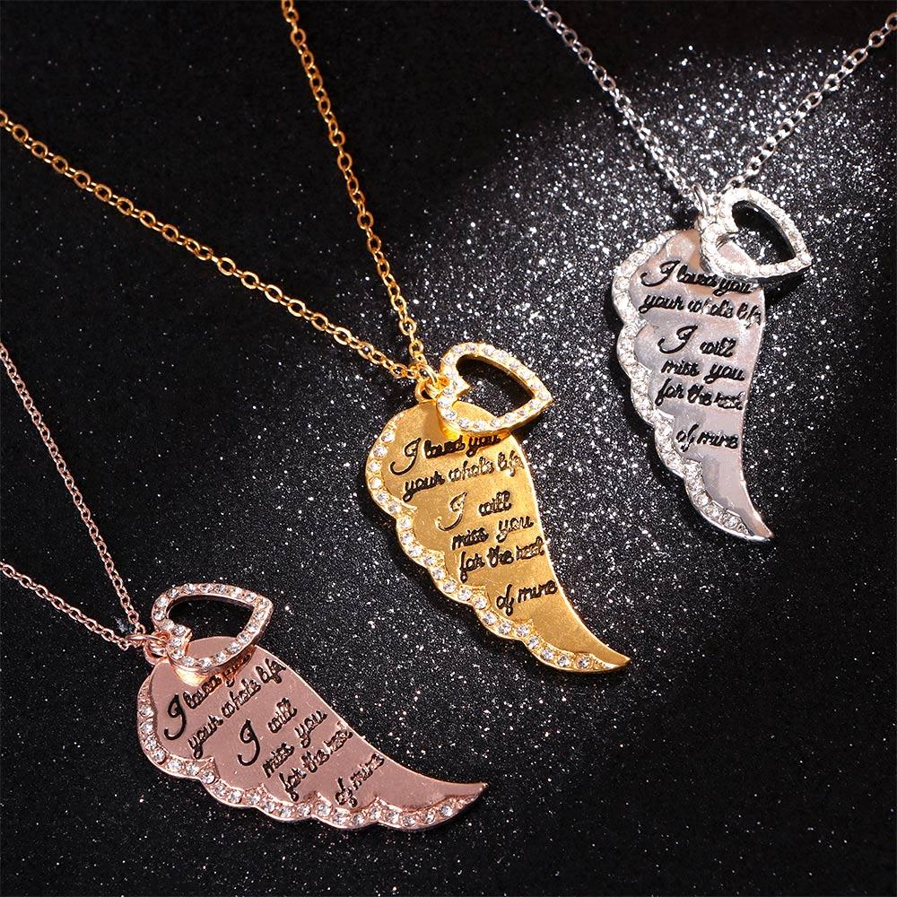 Collar de ala de Ángel dorada de oro nuevo para mujer, collar de cadena con colgante en forma de corazón, regalo de amante, joyería de moda