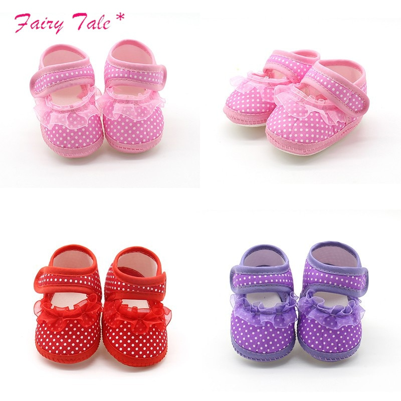 Baby Infant Shoes Girls Dot Lace Soft Sole Prewalker Warm Casual Flats Shoes Newborn Toddler First W