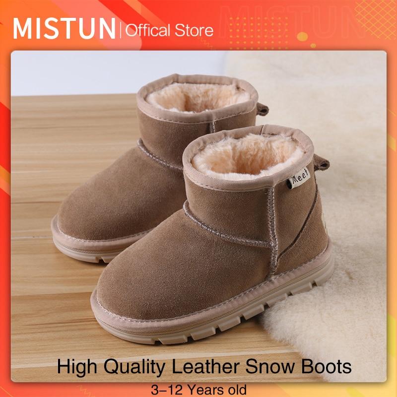 2021 winter leather children snow boots girls plus cotton boots boys plus velvet short boots 3-12 ye