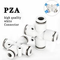 pza cross type four way quick connector quick plug in air distributor pneumatic fittings 4 12mm white boutique series connector