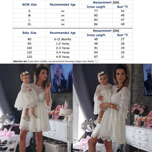 Family Matching Clothes Mother Daughter Dresses Women Floral Lace Dress Baby Girl Mini Dress Mom Baby Girl Party Clothes 2