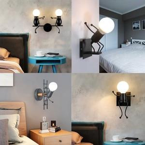Modern Simple Little Man Wall Light Creative Cartoon Wall Light Metal Robot Sconce Wall Light For Children Baby Bedroom Bedside