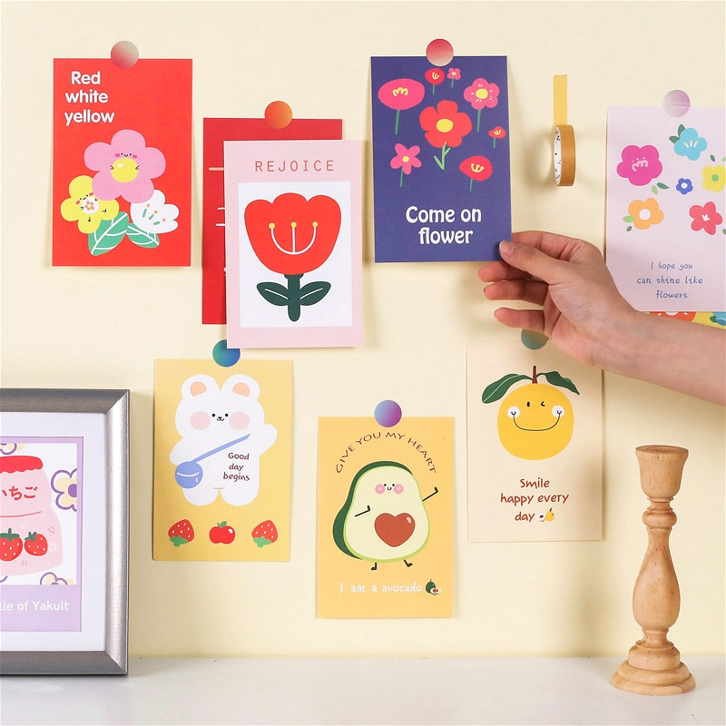 pegatinas-de-pared-con-dibujos-animados-de-flores-tarjetas-decorativas-de-buen-dia-bricolaje-para-dormitorio-metope-tarjeta-de-felicitacion-cuaderno-album-accesorios-de-fotos-15-uds