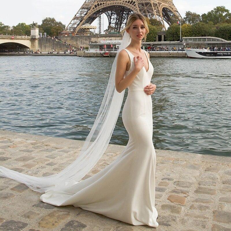 Review Double V-Neck Mermaid Wedding Dress Bodycon Simple Backless 2021 New Detachable Chiffon Drape Zipper Simple Beach Bridal Gowns