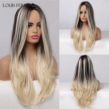 LOUIS FERRE-perruque synthétique noire Blonde ombrée pour femmes, cheveux longs ondulés avec raie au milieu, résistante à la chaleur