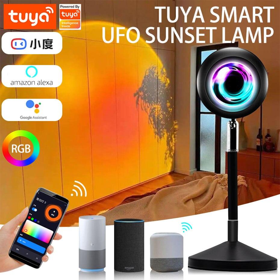 Tuya الغروب مصباح الإسقاط قوس قزح RGB ضوء USB واي فاي الذكية LED أضواء ليلية APP التحكم جو العارض الإضاءة 16 لون