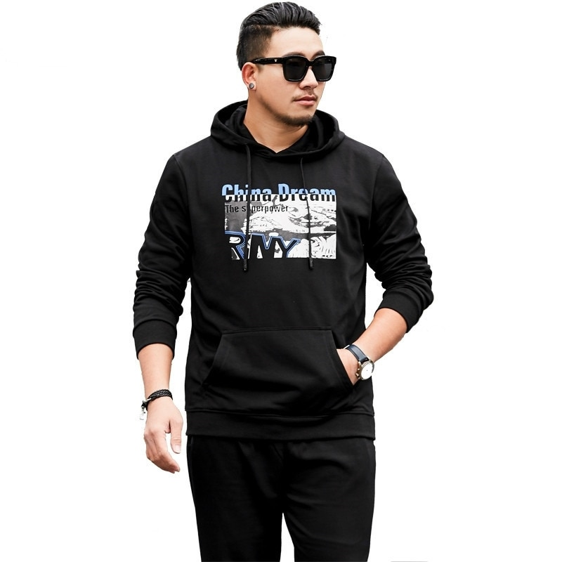 2019 Nova Plus Size 8xl7xl Marca Treino Hoodies Moda Masculina Sportswear Duas Peças Define Casaco Com Capuz + calça Terno Esportivo Masculino