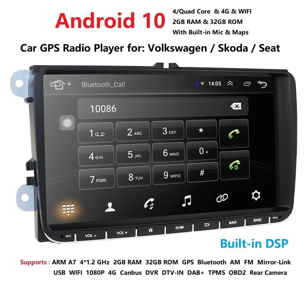 EU/US/CN склад android 10,0 Автомобильный мультимедийный плеер для VW polo golf passat tiguan skoda yeti superb rapid для skoda gps navi