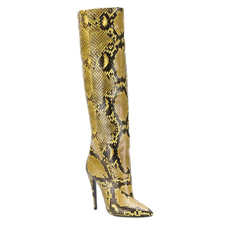 Sexy women's shoes Pointed toe Yellow Snake-print Stiletto Striped Over-the-knee Modern Boots Botas Femininas Fashion long Boots