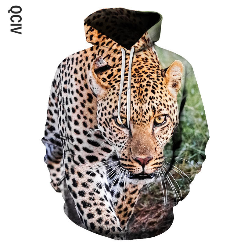 Spring Latest Leopard Print Men's Hoodie 3D Printed Loose Thin animal Hoodie Fashion Casual Pullover