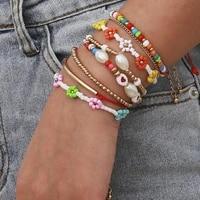 bohemian ethnic multilayer multicolor acrylic beads bracelet set for women flower heart rope bracelet 2021 fashion jewelry am315