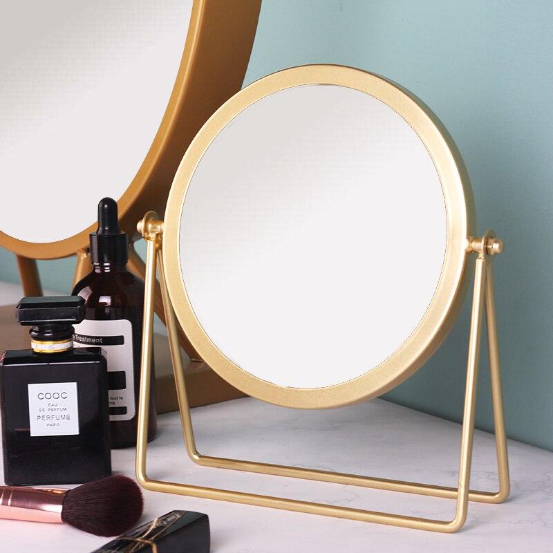 Tuerca de conexión diseño nórdico Internet celebridad espejo cosmético de escritorio metal pintura haciendo hogar dormitorio HD espejo retrovisor