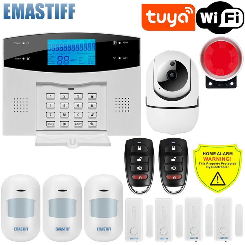 IOS أندرويد APP السلكية اللاسلكية أمن الوطن تويا واي فاي PSTN GSM نظام إنذار الاتصال الداخلي للتحكم عن بعد Autodial صفارة الإنذار مجموعة أجهزة استشعار