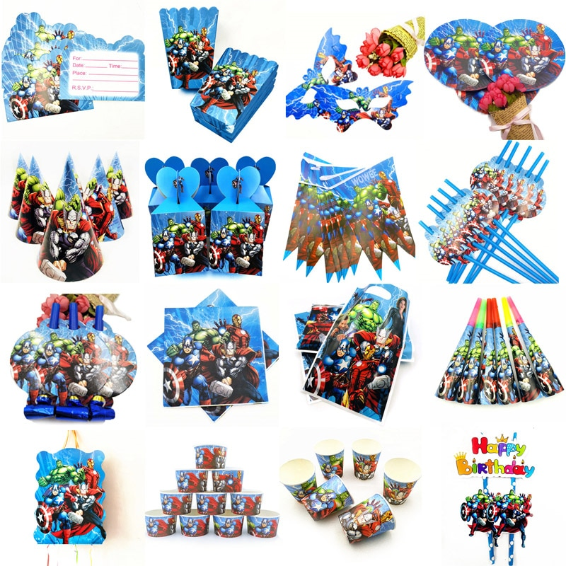 10 Kids Avenger Happy Birthday Party Supplies Disposable Tableware Festival Decoration Event Favor Gender Reveal Boys Gifts
