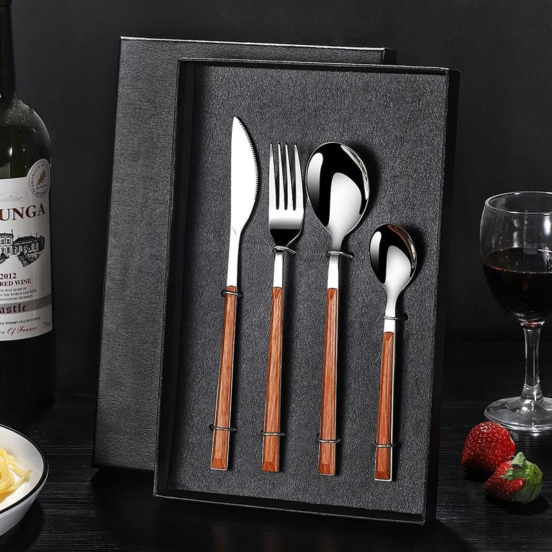 Conjunto de talheres de madeira com cabo de madeira, faqueiro dourado de aço inoxidável, garfos e colheres di50dc