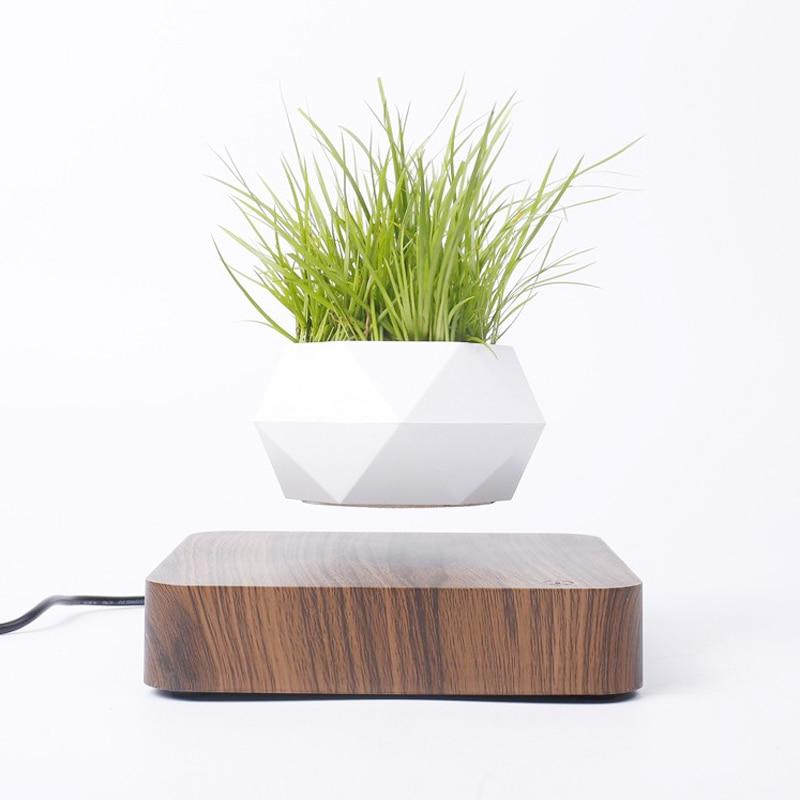 Levitáló levegőben bonsai edény, forgó virágcserép mágneses felfüggesztés úszó edény cserepes növény otthoni íróasztal dekorációval