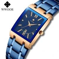 relogio feminino 2021 wwoor new women watches top brand luxury blue womens bracelet square watch ladies dress quartz wristwatch