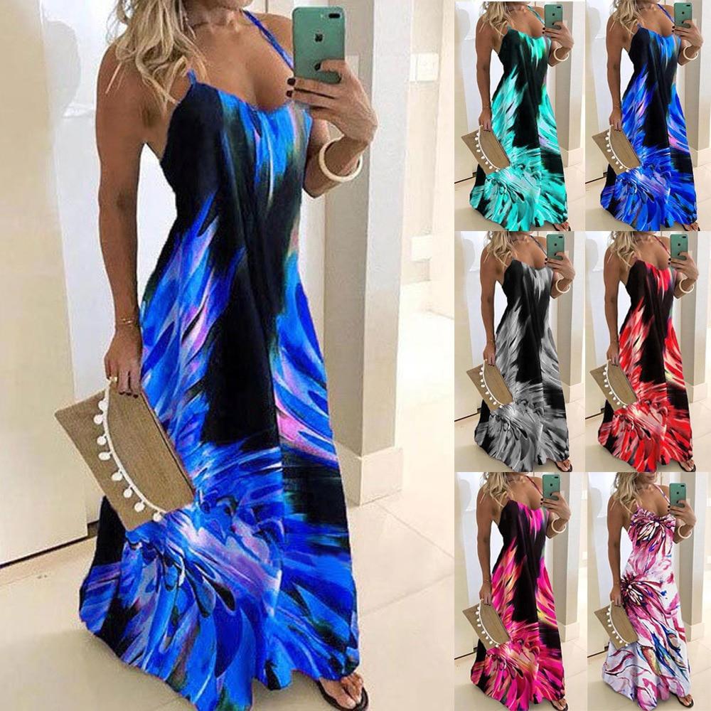 Women Plus Large Size Maxi Long Floor Length Beach Dress Female 2020 Summer Sleeveless Print Slim Street Wear Casual Dresses