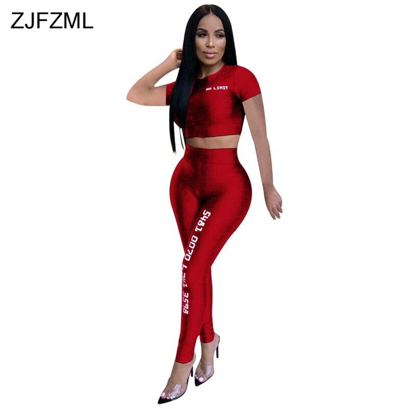 Frauen Fitness Sporting Zwei Stück Set Brief Drucken Club Outfit Kurzarm Crop Top Und Hohe Taille Hose Sexy 2 stück Sweatsuit