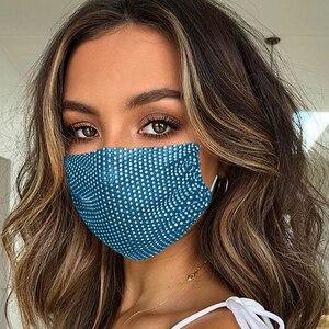 Модная блестящая маска Стразы эластичная многоразовая моющаяся модная маска для лица Украшение Ювелирные маски