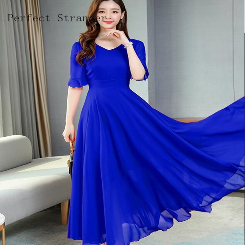 AliExpress - 2021 Summer New Arrival  Bohemian Style A-line V Collar Solid Color Plus Size S-3XL Women Chiffon Long Dress