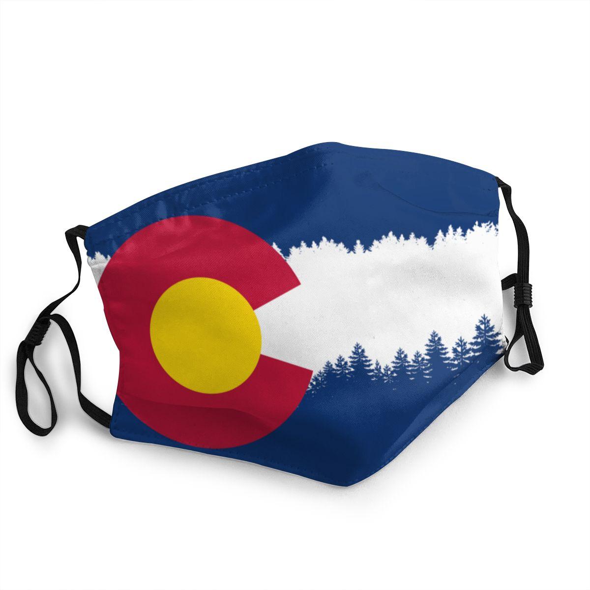 Colorado bandeira adulto reutilizável máscara facial impresso anti haze dustproof máscara de proteção respirador boca muffle