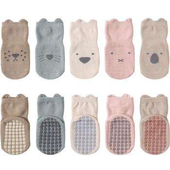 5 Pairs/lot 0-5Y 2021 new autumn and winter children's socks newborn soft cotton non-slip floor socks boys and girls baby Socks